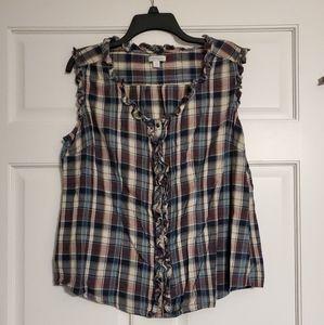 Sleeveless snap down blouse